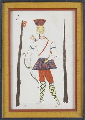Montgomery County Pennsylvania watercolor folk art drawing of a Native American ca 1850