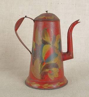 Red tole coffeepot 19th c