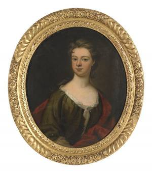 English oil on canvas portrait of a lady late 18th c