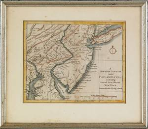 Color engraved  Map of the country round Philadelphia including part of New Jersey New York Staten Island  Long Island