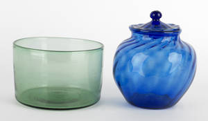 Cobalt blown glass covered sugar bowl
