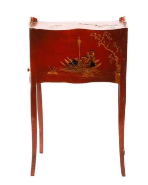 L 18th C English Red Lacquered Chinoiserie Stand