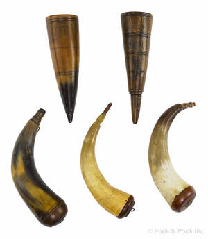 Three powder horns