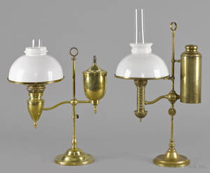 Two Victorian brass student lamps