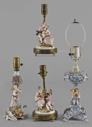 Pair of figural porcelain bedside lamps