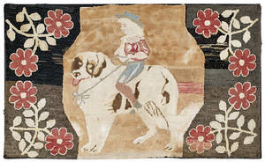 Hooked rug of a young girl riding a dog ca 1870