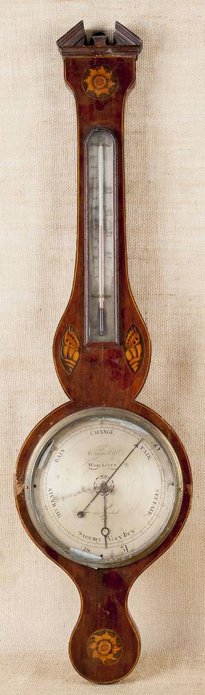 English mahogany banjo barometer 19th c