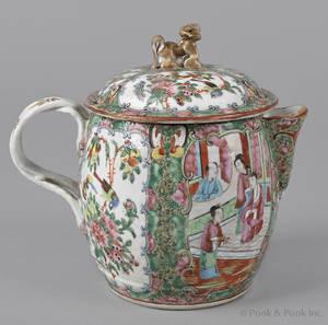 Chinese export porcelain rose medallion cider jug 19th c
