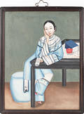 China Trade oil on canvas portrait of a young woman 19th c