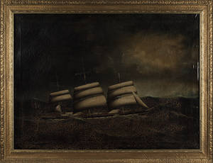 Oil on canvas ship portrait of