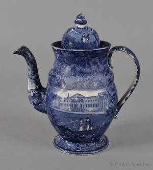 Historical blue Staffordshire coffee pot 19th c