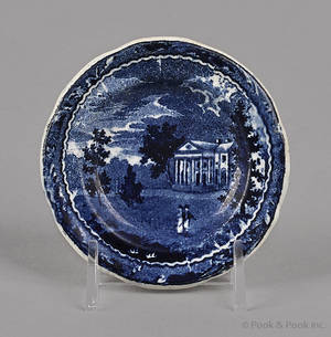 Historical blue Staffordshire Woodlands near Philadelphia cup plate 19th c