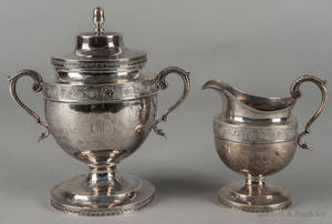Philadelphia silver covered sugar and creamer ca 1825