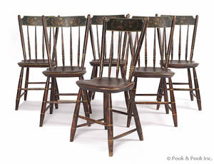 Set of six painted plank seat chairs mid 19th c