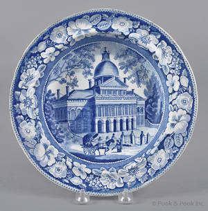 Historical blue Staffordshire Boston State House soup bowl 19th c