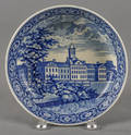 Historical blue Staffordshire Alms House New York shallow bowl 19th c