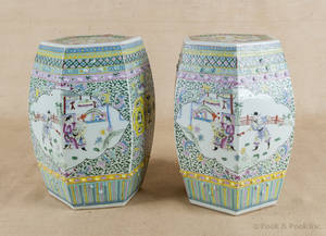 Pair of Chinese famille verte porcelain garden seats