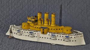 Dent cast iron battleship  New York  pull toy