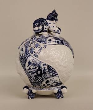 Japanese Blue  White Incense Burner or Censer