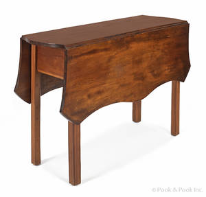 New England Chippendale birch drop leaf table