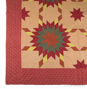 Pieced four star quilt late 19th c