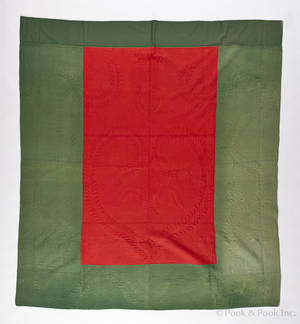 Red and green calamanco quilt 19th c