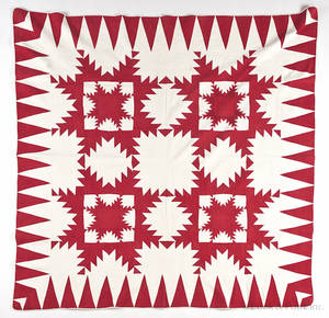 Pieced feather star quilt late 19th c