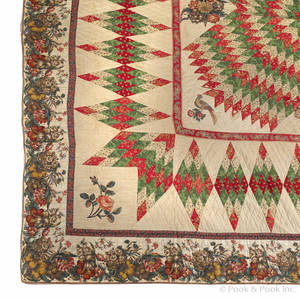 Chintz and pieced lone star variant quilt ca 1850