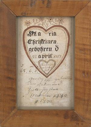 Southeastern Pennsylvania ink and watercolor fraktur birth certificate for