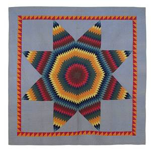 Lancaster County Pennsylvania pieced lone star pattern quilt dated