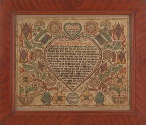 Intricate Pennsylvania watercolor and ink on paper fraktur dated