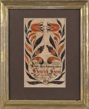 Southeastern Pennsylvania ink and watercolor fraktur bookplate for