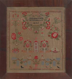 Berks County Pennsylvania wool sampler dated