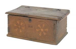 Continental yewwood lock box 18th c