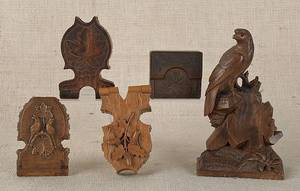 Four Continental carved watch safes late 19th c