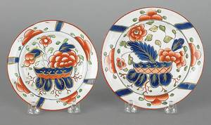 Two Gaudy Dutch war bonnet toddy plates 19th c
