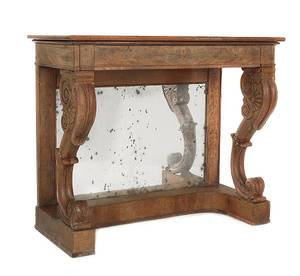Classical mahogany pier table with mirrored back
