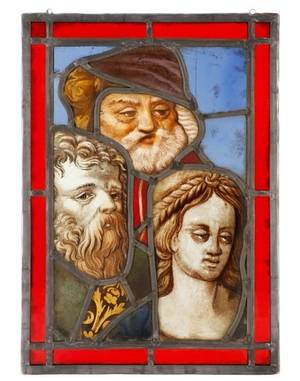 16th C Stained Glass Susanna  The Elders