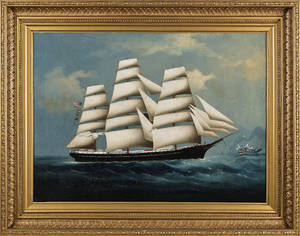 China Trade oil on canvas ship portrait mid 19th c