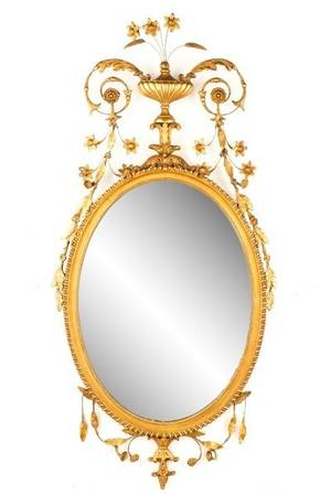 Adams Style Gilt Wood  Gesso Oval Wall Mirror