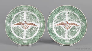 Pair of Chinese export porcelain green Fitzhugh plates 19th c