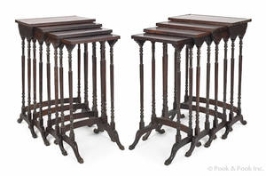 Pair of China Trade rosewood nesting tables ca 1835