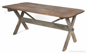Pennsylvania painted pine sawbuck table 19th c
