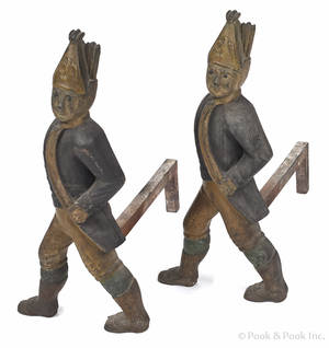 Pair of cast iron Hessian andirons 19th c