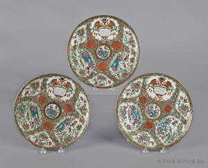 Three Chinese export porcelain rose medallion plates 19th c