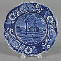 Historical blue Staffordshire Winter View of Pittsfield Massachusetts plate 19th c
