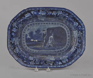 Historical blue Staffordshire North Carolina Coat of Arms platter 19th c
