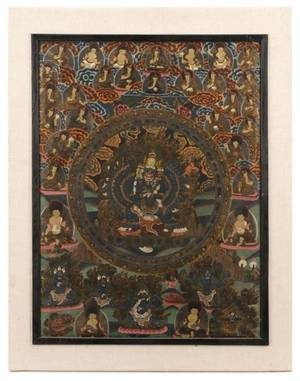19th Century SinoTibetan Thangka of Heruka Deity
