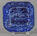 Historical blue Staffordshire American Villa serving bowl 19th c
