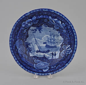 Historical blue Staffordshire Cadmus shallow bowl 19th c